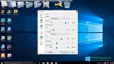 Скриншот программы RocketDock для Windows 10