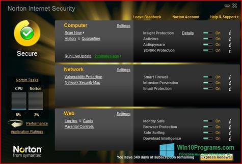 Скриншот программы Norton Internet Security для Windows 10