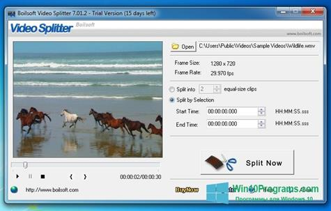 Скриншот программы Boilsoft Video Splitter для Windows 10