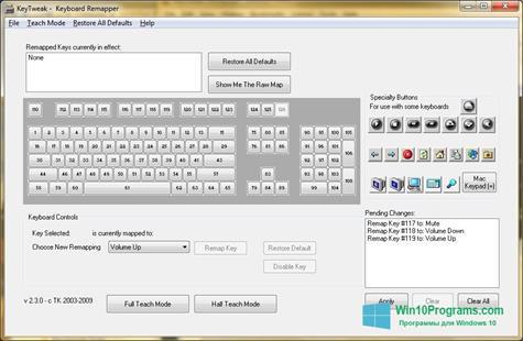 Скриншот программы KeyTweak для Windows 10